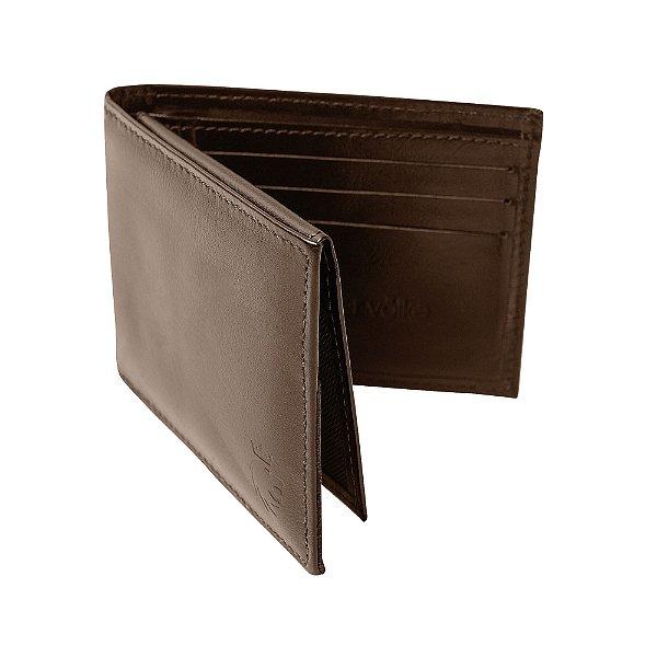 Carteira couro compartimento para 4 cartões e cnh - Marrom