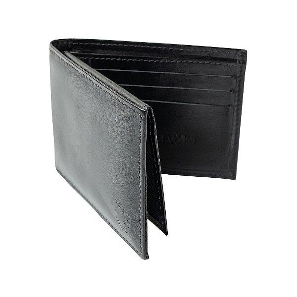 Carteira couro compartimento para 4 cartões e cnh - Preto