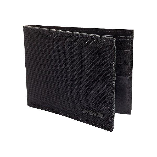 Carteira couro compartimento para 3 cartões - Preto