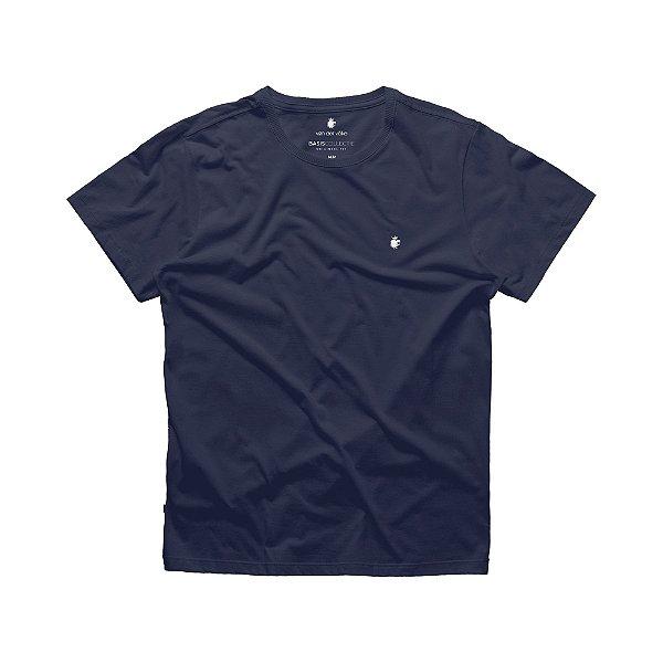 Camiseta básica masculina de gola redonda - Azul