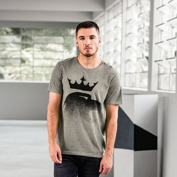 Camiseta masculina estonada com efeito de respingos de manga curta - Verde