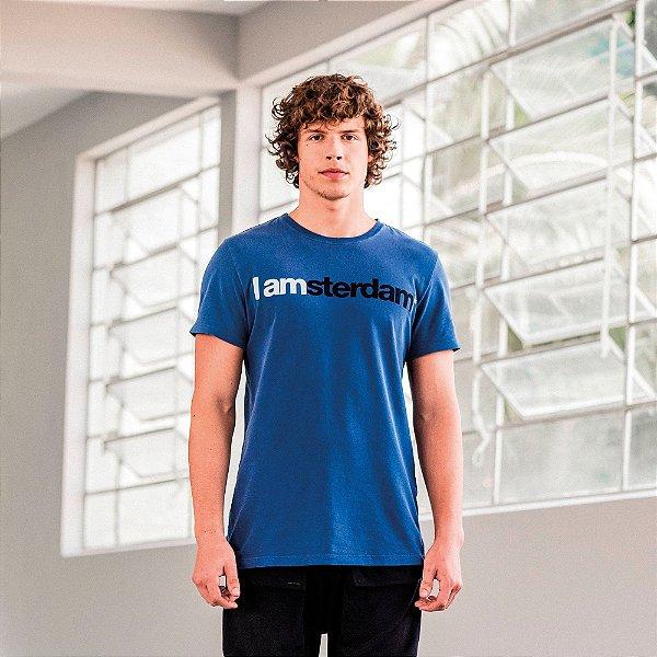 Camiseta masculina de manga curta e gola redonda estampa IAmsterdam - Azul