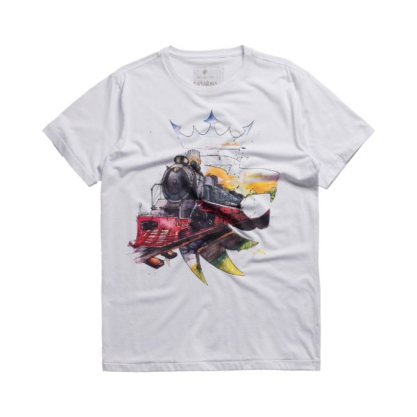 Camiseta masculina estampa leão Vøn der Völke e trem - Branco
