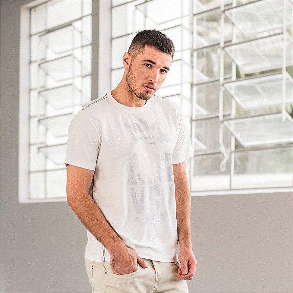 Camiseta masculina estampa leão Vøn der Völke do avesso malha botonê - Bege