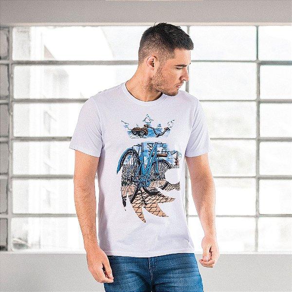 Camiseta masculina estampa bike e leão - Branco