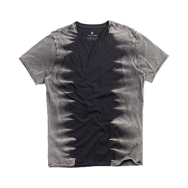 Camiseta masculina efeito tye dye com corrosão - Preto