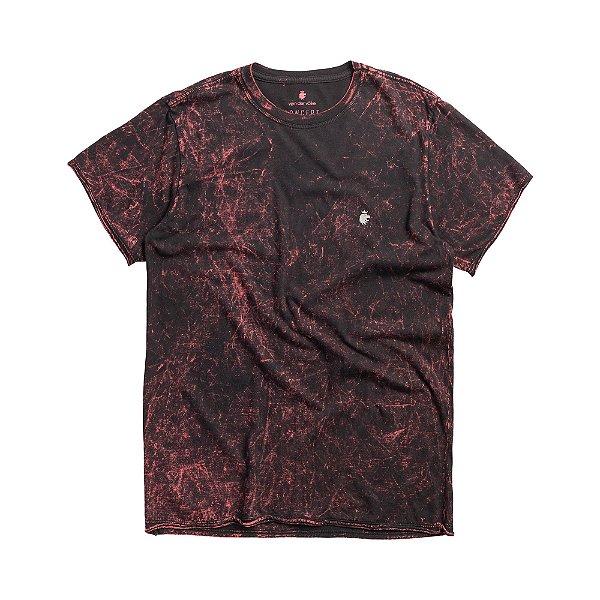 Camiseta masculina de manga curta com efeito marmorizado colorido - Vermelho