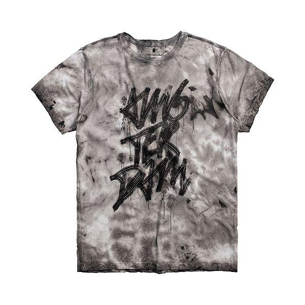 Camiseta masculina manga curta efeito textura e lettering Amsterdam - Preto