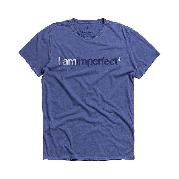 Camiseta masculina estampa lettering I Am Imperfect - Azul