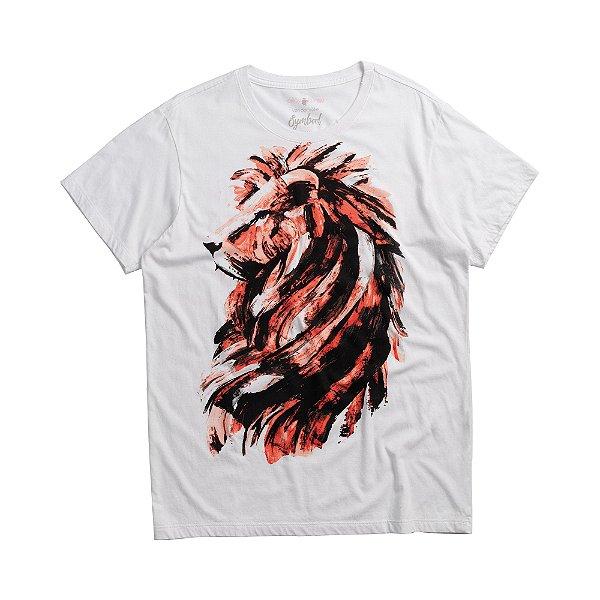 Camiseta masculina de manga curta estampa leão feita à mão - Branco