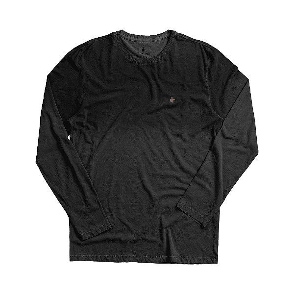 Camiseta masculina manga longa em malha listrada com efeito corrosão - Preto