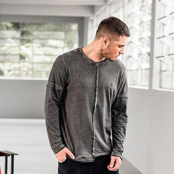Camiseta masculina dupla face manga longa estampa leão Vøn der Völke - Preto