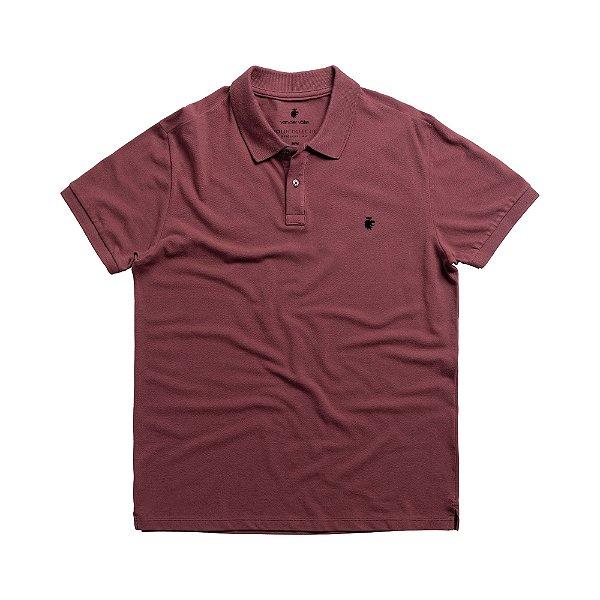 Camisa polo masculina básica em piquet - Bordô