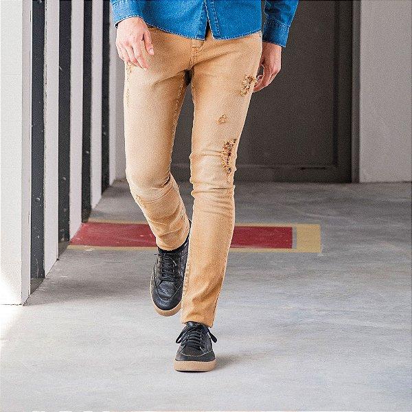Calça masculina de sarja destroyed modelagem slim - Amarelo