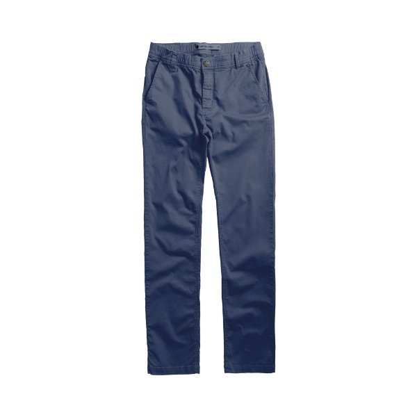 Calça masculina de sarja com elástico no cós modelagem slim - Azul