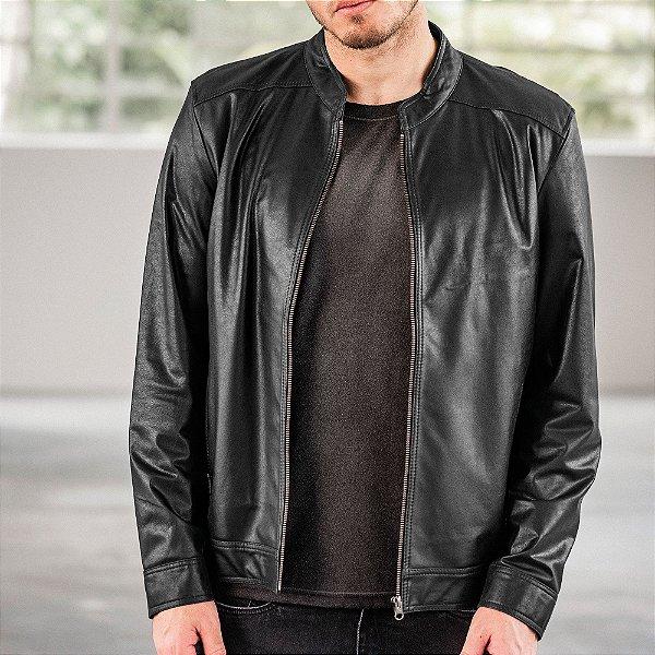 Jaqueta de couro legítimo com aviamentos de metal - Preto