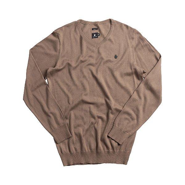 Casaco suéter básico de tricot com decote V - Bege