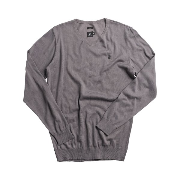 Casaco suéter básico de tricot com decote V - Cinza