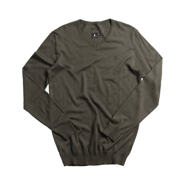 Casaco suéter básico de tricot com decote V - Verde