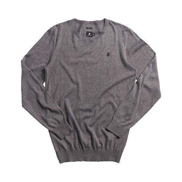 Casaco suéter básico de tricot com gola redonda careca - Cinza