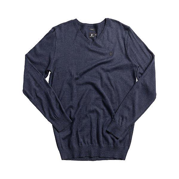 Casaco suéter básico de tricot com gola redonda careca - Azul