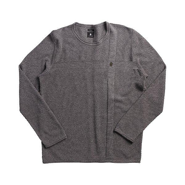 Casaco suéter de tricot com detalhes em jacquard - Cinza Mescla