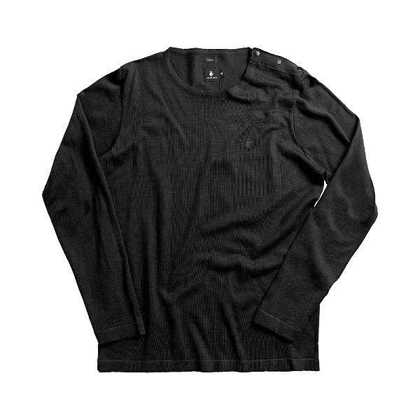Casaco suéter de tricot detalhe com botões nos ombros - Preto