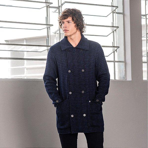 Casaco sobretudo em tricot detalhe em jacquard - Azul