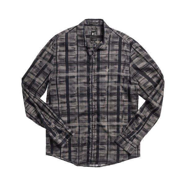 Camisa masculina de manga longa estampada - Cinza