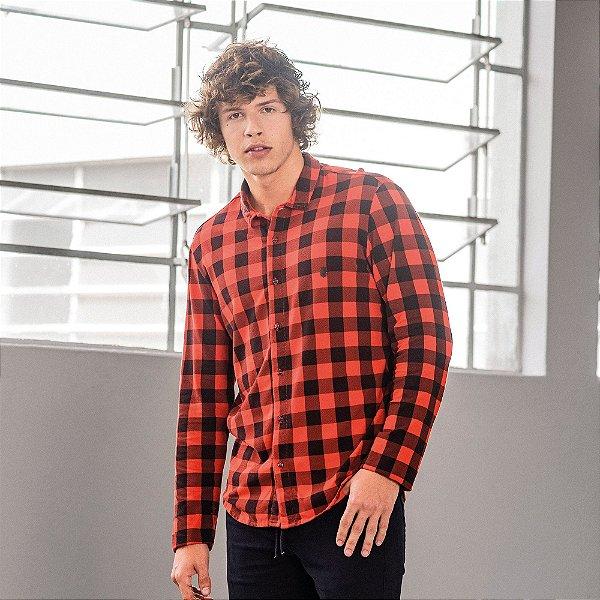 Camisa xadrez masculina de malha com manga longa - Vermelho