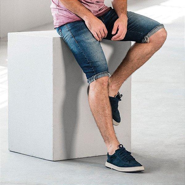 Bermuda jeans masculina desfiado desfiado na barra - Denim