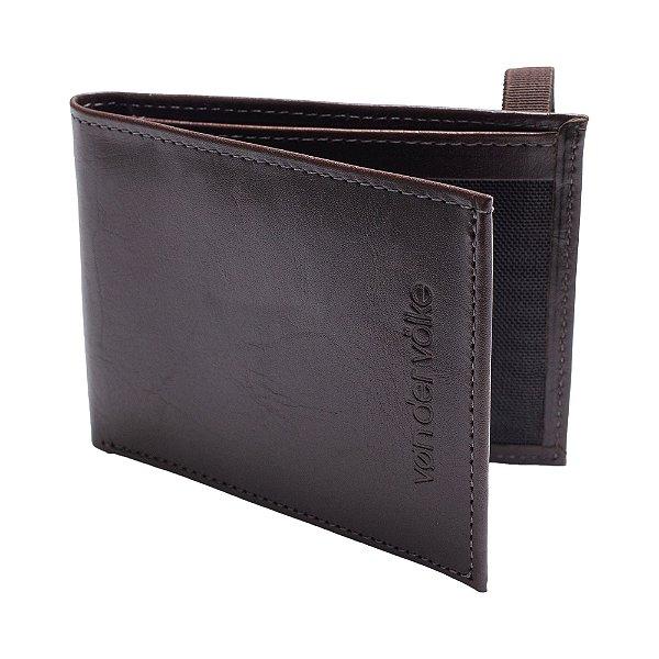 Carteira couro legítimo compartimento para 6 cartões - Marrom