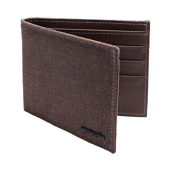 Carteira couro legítimo compartimento para 3 cartões e moedas - Marrom