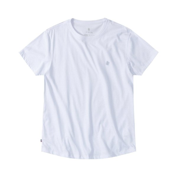 Camiseta básica masculina com barra arredondada - Branco