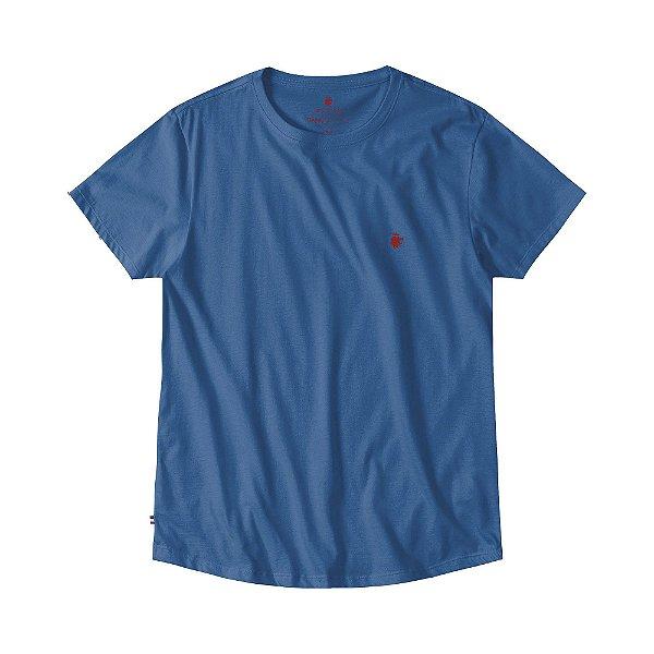 Camiseta básica masculina com barra arredondada - Azul