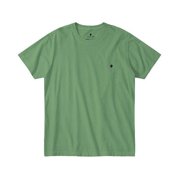 Camiseta Básica Masculina Estonada - Verde