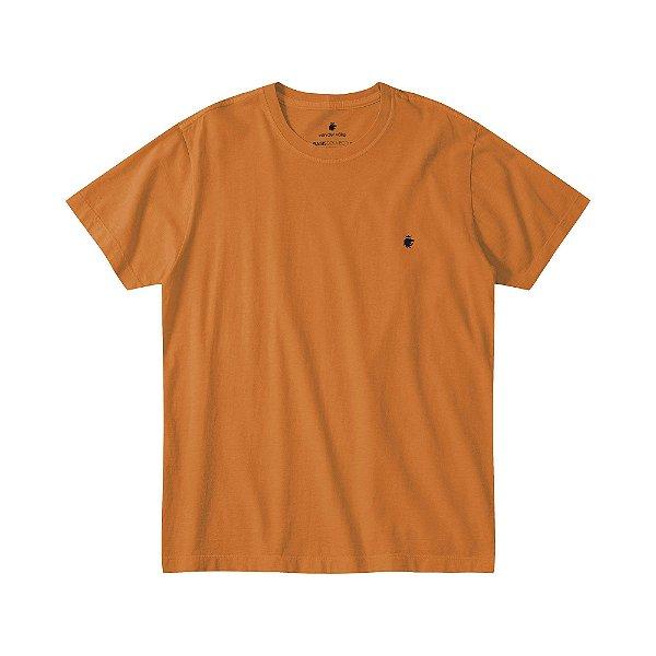 Camiseta básica masculina estonada gola redonda e manga curta - Laranja