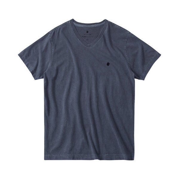 Camiseta básica masculina estonada gola V e manga curta - Azul