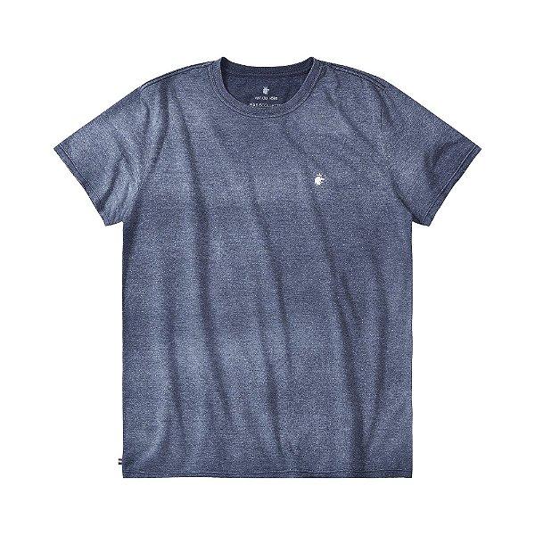Camiseta básica masculina efeito devorê gola redonda e manga curta - Azul