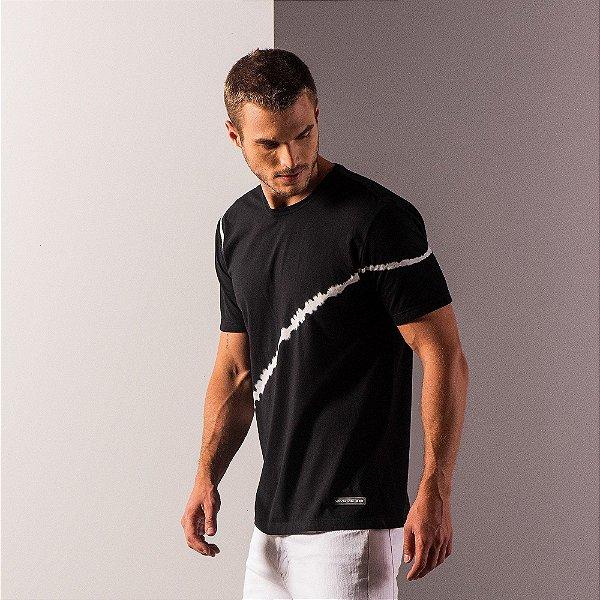 Camiseta masculina listra tie dye manga curta - Preto