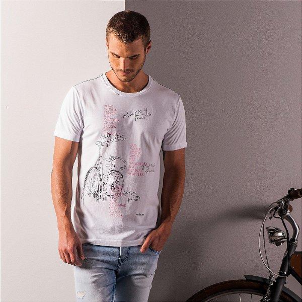 Camiseta masculina estampa de bicicleta e lettering acabamento diferenciado - Branco