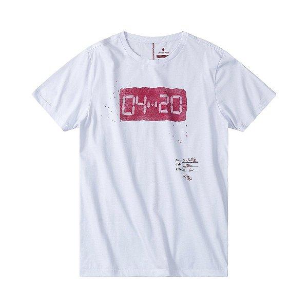 Camiseta masculina estampa lettering 4:20 - Branco