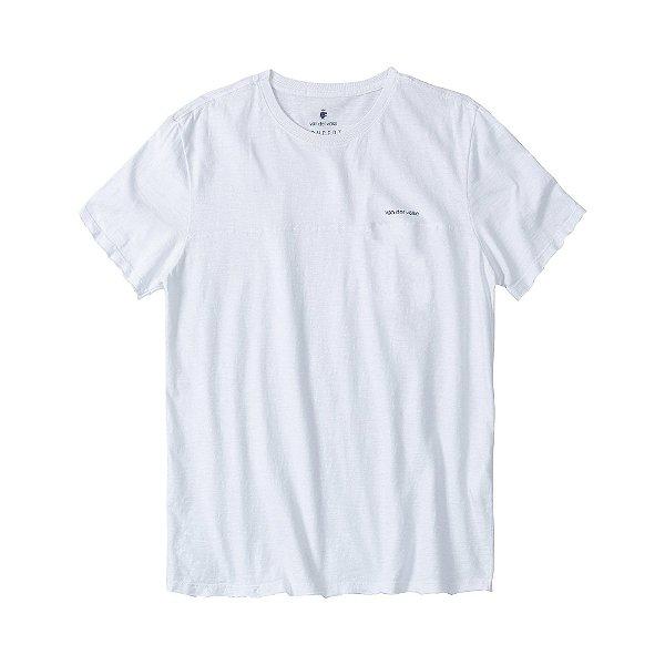 Camiseta masculina em flamê com recortes diferenciados - Branco