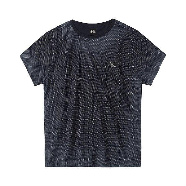 Camiseta masculina em malha poá com efeito spray - Preto