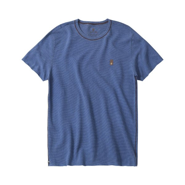 Camiseta masculina estonada em malha waffle - Azul
