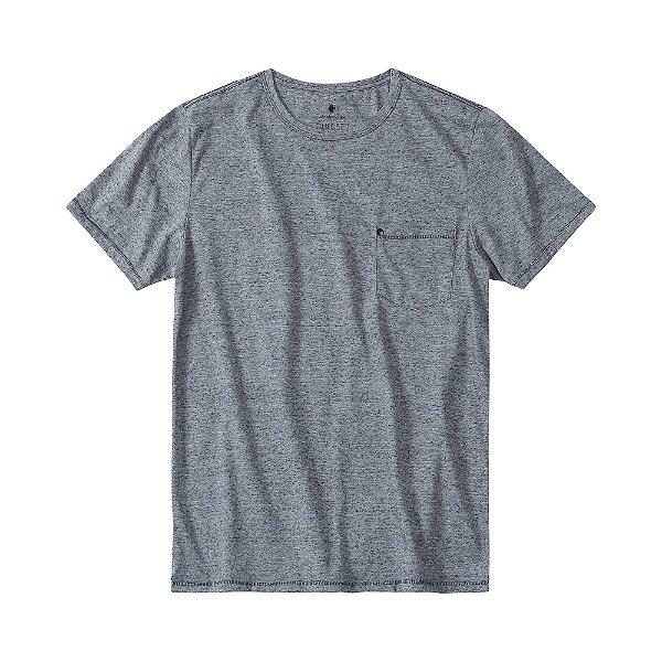 Camiseta malha ecológica com bolso e aplicação de rebite - Preto