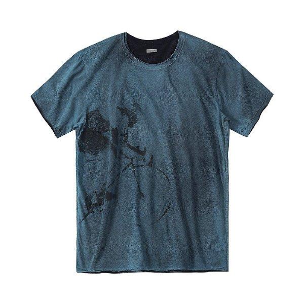 Camiseta masculina dupla face com estampa de ciclista - Turquesa