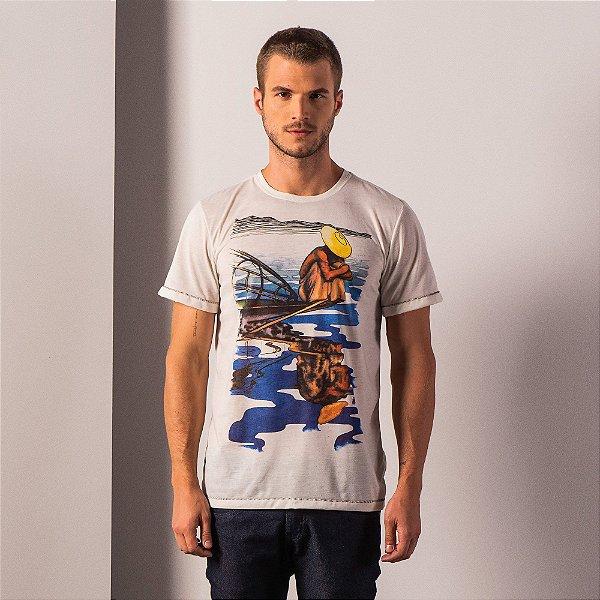 Camiseta masculina malha linho estampa de arte manual de barco - Bege