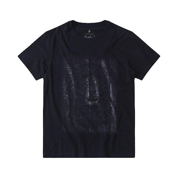 Camiseta masculina estampa leão com efeito gel - Preto