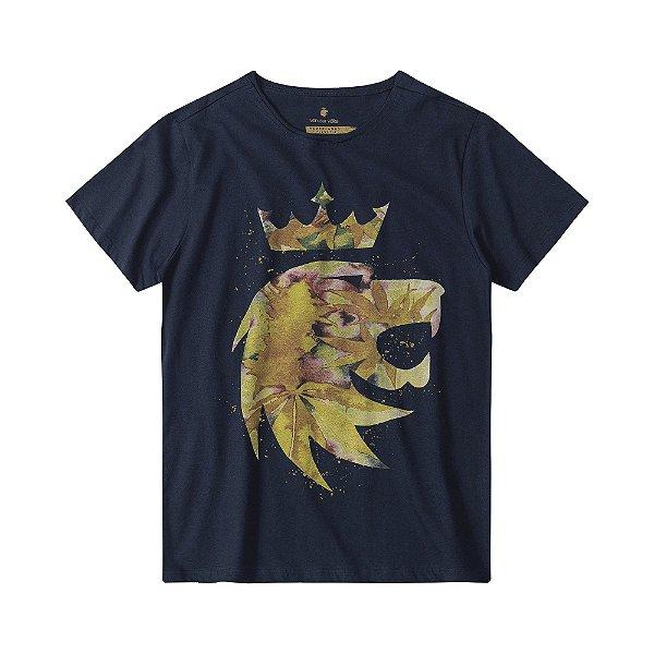 Camiseta masculina estampa leão Vøn der Völke cannabis - Azul